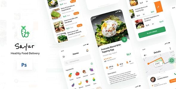 Sayur - Healthy Food Delivery iOS UI App Design PSD - Retail Photoshop