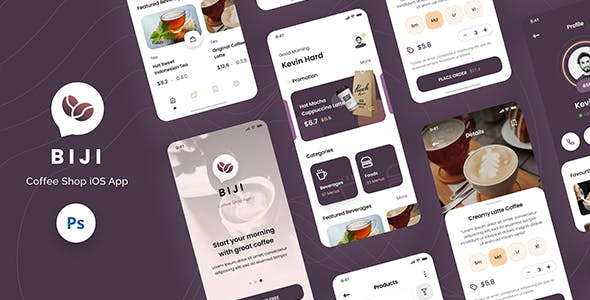 Biji - Coffee Shop iOS App Design UI Template PSD