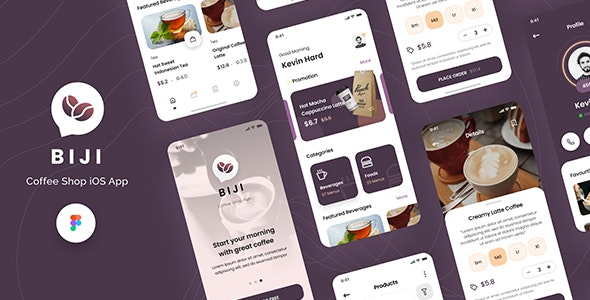 Biji - Coffee Shop iOS App Design UI Template Figma - Retail Figma
