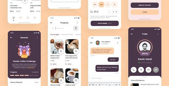 Biji - Coffee Shop iOS App Design UI Template Figma