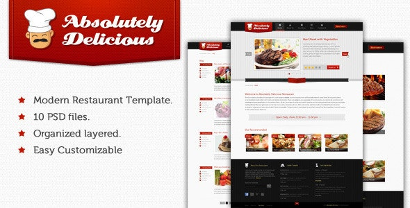 Absolutely Delicious Restaurant PSD Template - Food Retail
