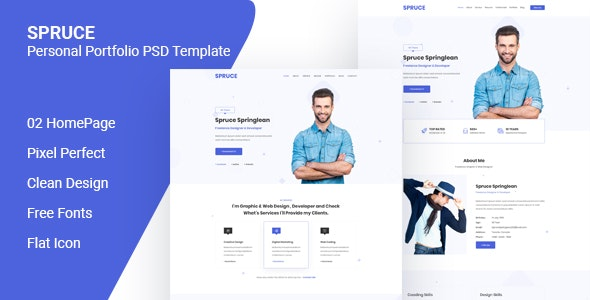 Spruce - Personal Portfolio PSD Template - Creative Photoshop