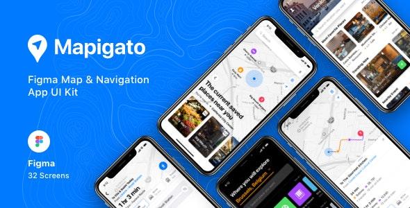 Mapigato - Figma Map & Navigation App UI Kit - Miscellaneous Figma