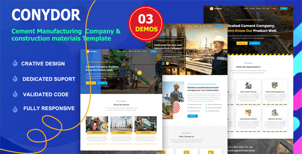 Conydor - Cement Manufacturing Factory HTML Template - Business Corporate