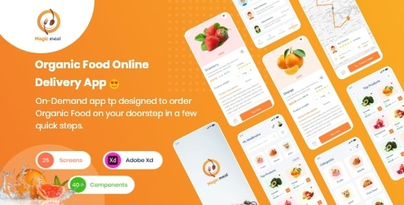 Magic Meal - Organic Food Delivery Application UI kit - Food Retail