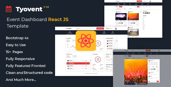 Tyovent - Event Management Dashboard Reactjs Template - Admin Templates Site Templates
