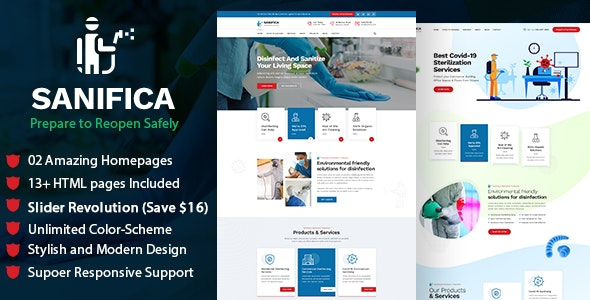 Sanifica: Sanitizing and Disinfection Services HTML Template - Business Corporate