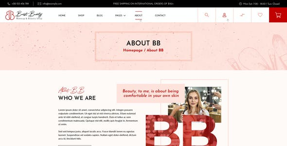 Burst Beauty | Cosmetics Shop And Spa Saloon PSD Template