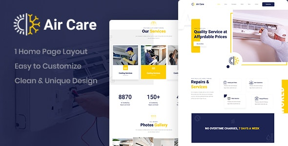 Aircare - Air Conditioning PSD Template - Business Corporate
