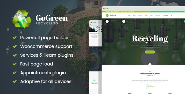 GoGreen - Waste Management and Recycling WordPress theme - Business Corporate