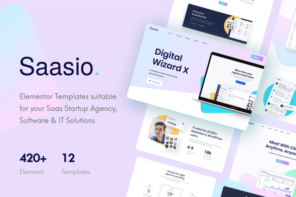 Saasio - Saas & Startup Elementor Template Kit - Technology & Apps Elementor