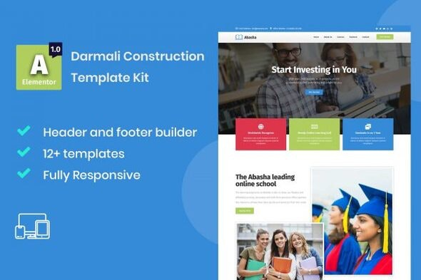 Abasha - Education & Learning Courses Elementor Template Kit - Education Elementor