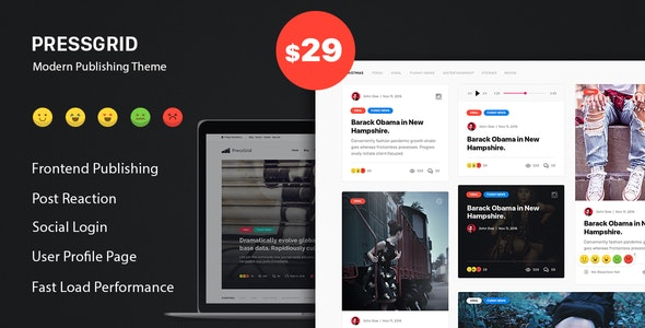 PressGrid - Frontend Publish Reaction & Multimedia Theme - News / Editorial Blog / Magazine