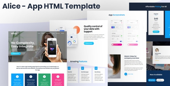 Alice - App Landing Page HTML Template - Technology Site Templates