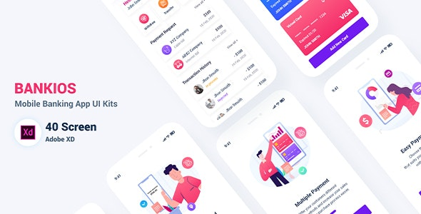 Bankios -  Mobile Banking App UI Kit for Adobe XD - Adobe XD UI Templates