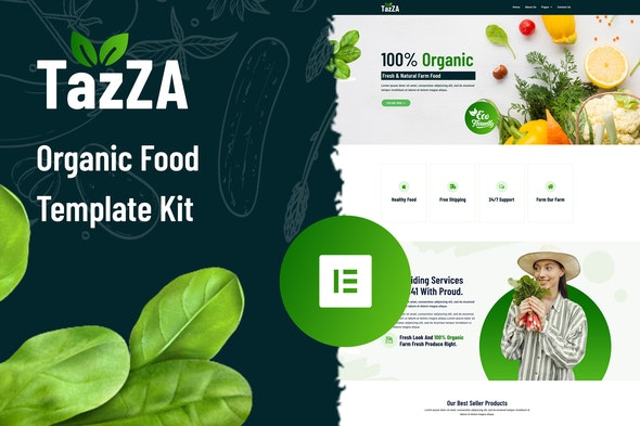 TazZA - Organic Food Elementor Template Kit - Food & Drink Elementor
