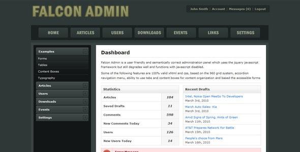 Falcon Admin - Admin Templates Site Templates