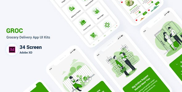 Groc - Grocery Delivery Adobe XD Template