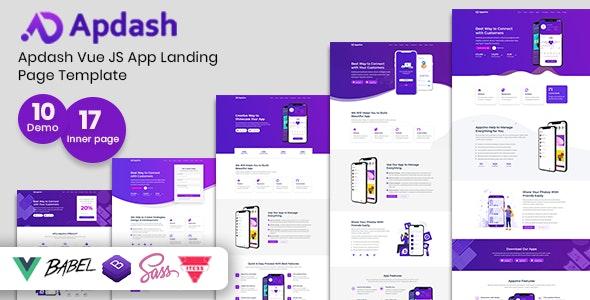 Apdash - Vue JS App Landing Page Template - Technology Site Templates