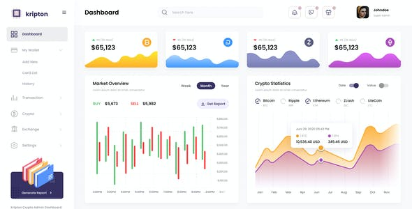 Kripton Admin - Cryptocurrency Dashboard UI Design Template PSD