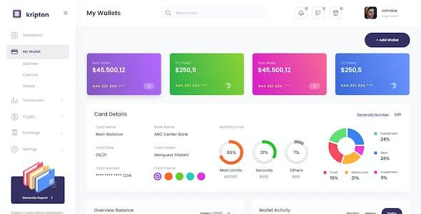 Kripton Admin - Cryptocurrency Dashboard UI Design Template Figma