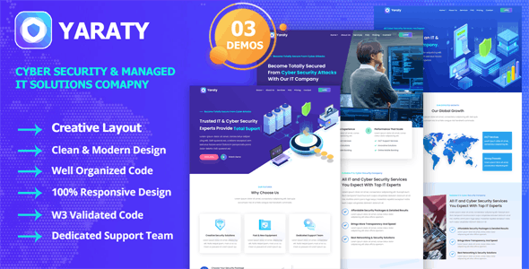 Yaraty - Cyber Security & Managed IT Services Template - Technology Site Templates