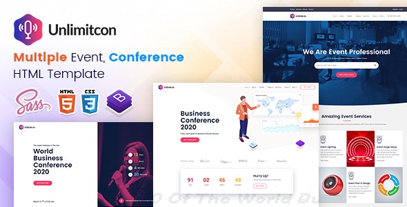 Unlimitcon - Multiple Event, Conference HTML Template. - Events Entertainment