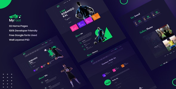 Myfoot -  Football Player Portfolio UI Templates - UI Templates