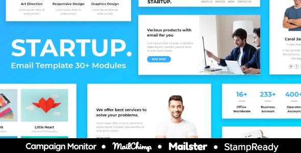 Start up - 30+ Modules Responsive Email Template + Mailchimp Editor + Campaign Monitor & Mailster - Newsletters Email Templates