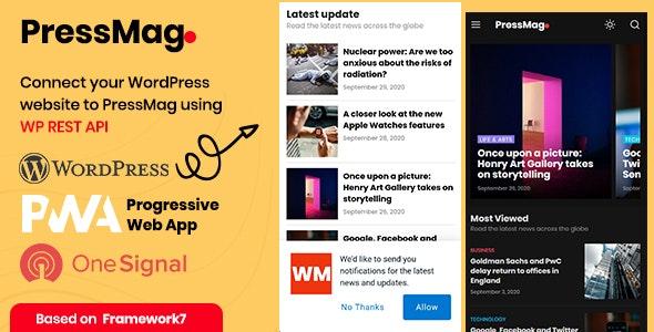 PressMag - News & Magazine PWA Mobile Template - Mobile Site Templates