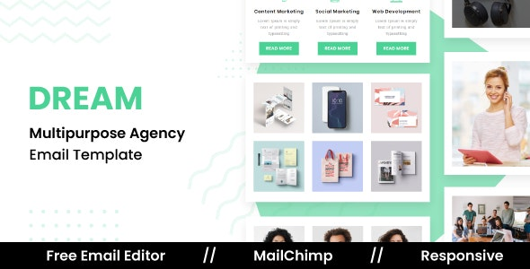 DREAM - Responsive Email Template For Agency With Free Email Editor - Newsletters Email Templates
