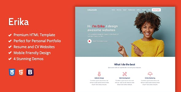 Erika - HTML Template For Online Portfolio, CV And Resume Websites