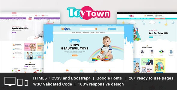 Toytown Kids Clothing & Toys Responsive HTML Template - Children Retail