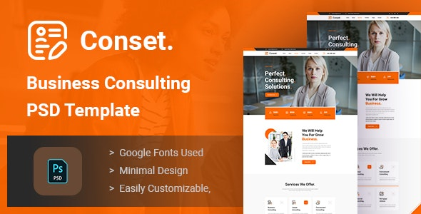 Conset - Business Consulting PSD Template - Business Corporate