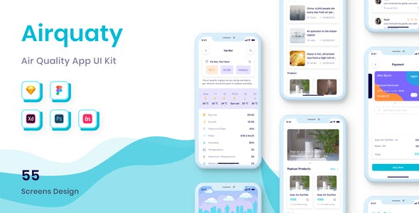 Airquaty - Air Quality App UI Kit