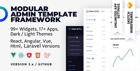 Clean UI Pro Bundle — Modular Multi Concept Admin Template - Admin Templates Site Templates