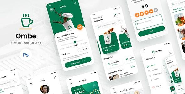 Ombe - Coffee Shop iOS App Design UI Template PSD - Retail Photoshop