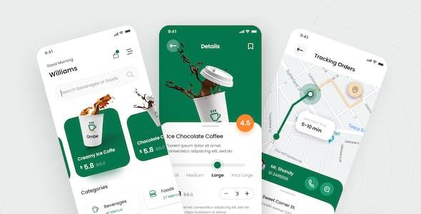 Ombe - Coffee Shop iOS App Design UI Template PSD