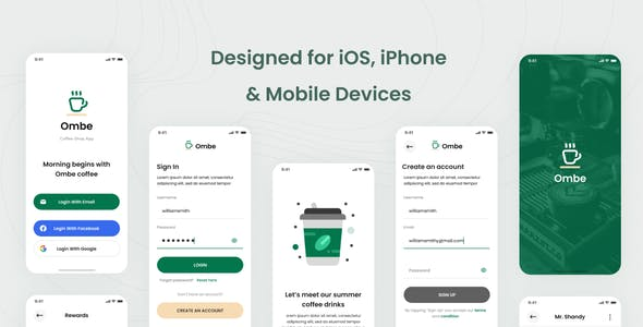 Ombe - Coffee Shop iOS App Design UI Template Figma