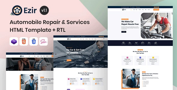 Ezir - Auto Repair Services HTML Template - Business Corporate