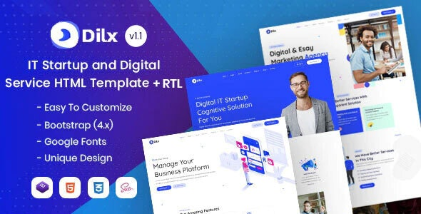 Dilx - IT & Marketing Startup HTML Template - Business Corporate