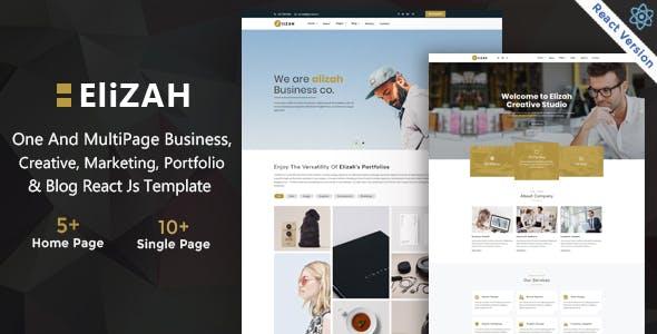 Elizah – Business And Corporate  React JS Responsive Website