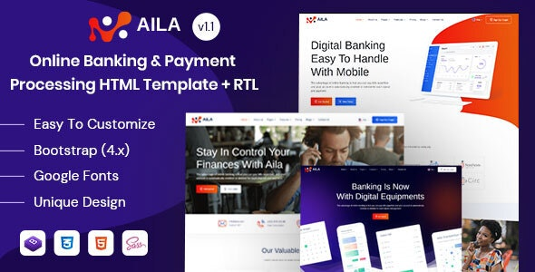 Aila - Online Banking & Payment HTML Template - Business Corporate