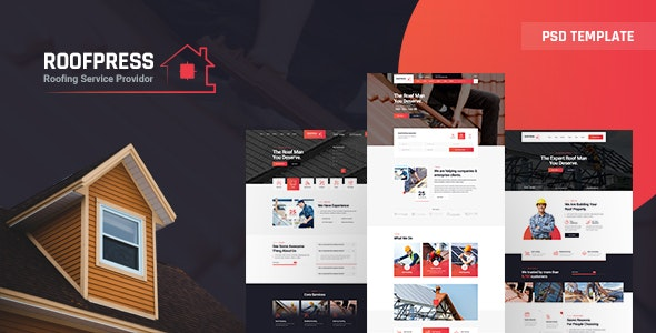 RoofPress - Roofing Services PSD Template - Business Corporate
