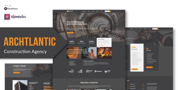 Archtlantic - Construction Agency Elementor Template Kit