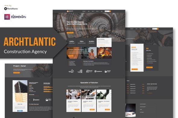 Archtlantic - Construction Agency Elementor Template Kit - Real Estate & Construction Elementor