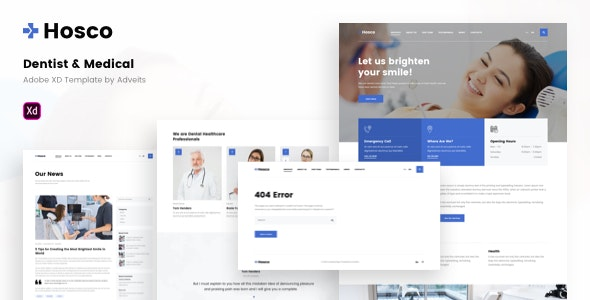 Hosco - Dentist & Medical Adobe XD Template - Health & Beauty Retail