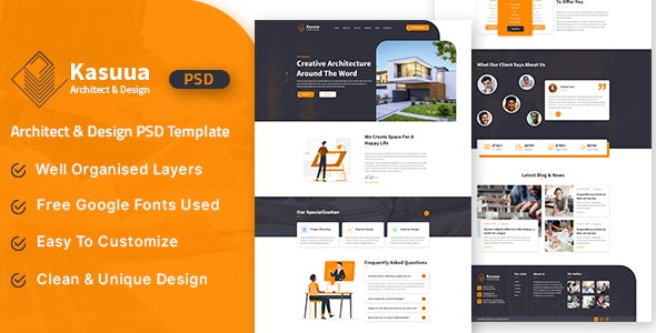 Kasuua - Architect & Design PSD Template - Business Corporate