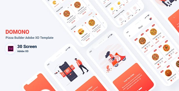 Domono - Pizza Builder Adobe XD Template