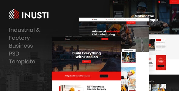 Inusti - Industrial & Factory Business PSD Template - Photoshop UI Templates